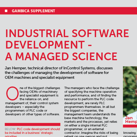 Gambica Supplement: Industrial Software Development – A Managed Science